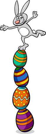 paschal: Cartoon Cute Easter Bunny on Paschal Eggs Illustration