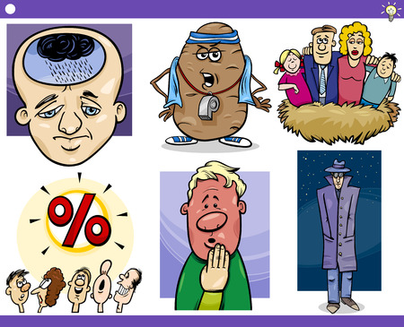 Set of Humorous Cartoon Concepts, Ideas and Metaphors with Funny Characters Vector