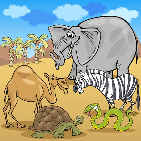 Funny Safari Wild African Animals Group Vector