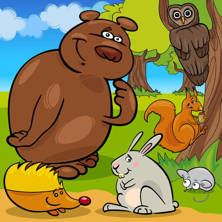 Cute Forest Wild Animals Vector