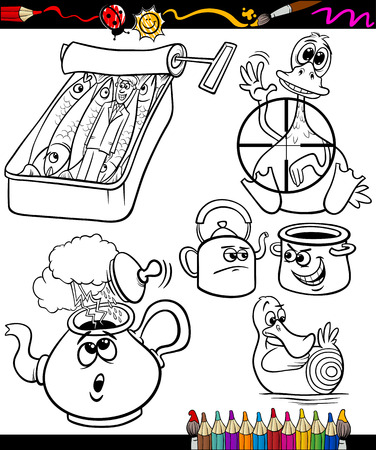 proverbs: Set of Black and White Sayings or Proverbs for Children Illustration