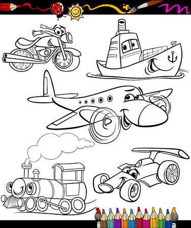 coloring book page: Set of Black and White Transportation or Vehicles Characters for Children