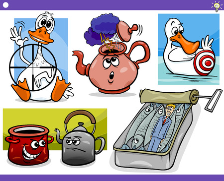 Set of Humorous Cartoon Concepts or Ideas and Metaphors with Funny Characters Vector
