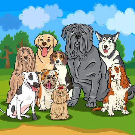 bull dog: Cartoon Illustrations of Funny Purebred Dogs Characters Group