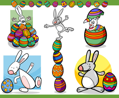 Cartoon Illustration of Happy Easter Themes with Bunny and Paschal Eggs Vector