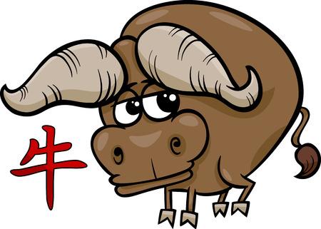 funny ox: Cartoon Illustration of Ox Chinese Horoscope Zodiac Sign Illustration