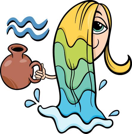 water bearer: Cartoon Illustration of Aquarius or The Water Bearer Horoscope Zodiac Sign Illustration