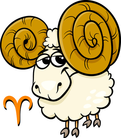 fortune graphics: Cartoon Illustration of Aries or The Ram Horoscope Zodiac Sign Illustration
