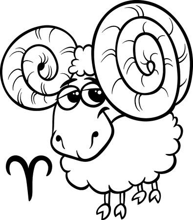 aries: Blanco y negro de dibujos animados de ilustración de Aries o The Sign Ram Horóscopo del zodíaco para Coloring Book Vectores
