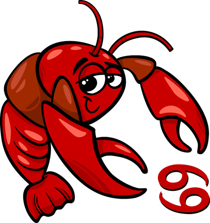 Cartoon Illustration of Cancer or The Crab Horoscope Zodiac Sign