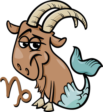 sea goat: Cartoon Illustration of Capricorn or The Sea Goat Horoscope Zodiac Sign Illustration