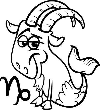 sea goat: Black and White Cartoon Illustration of Capricorn or The Sea Goat Horoscope Zodiac Sign for Coloring Book