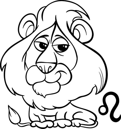 Black and White Cartoon Illustration of Leo or The Lion Horoscope Zodiac Sign for Coloring Book