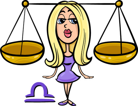 fortune graphics: Cartoon Illustration of Libra or The Scales Horoscope Zodiac Sign