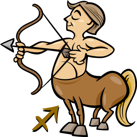 Cartoon Illustration of Sagittarius or The Archer or Centaur Horoscope Zodiac Sign Vector