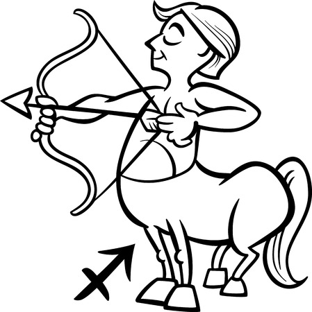 Black and White Cartoon Illustration of Sagittarius or The Archer or Centaur Horoscope Zodiac Sign for Coloring Book Vector
