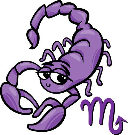 Cartoon Illustration of Scorpio or The Scorpion Horoscope Zodiac Sign Illustration