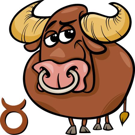 Cartoon Illustration of Taurus or The Bull Horoscope Zodiac Sign