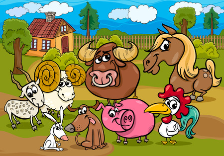 Cartoon Illustration of Country Rural Scene with Farm Animals Livestock Characters Group Vector