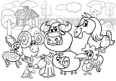 Black and White Cartoon Illustration of Country Rural Scene with Farm Animals Livestock Characters Group for Coloring Book Vector