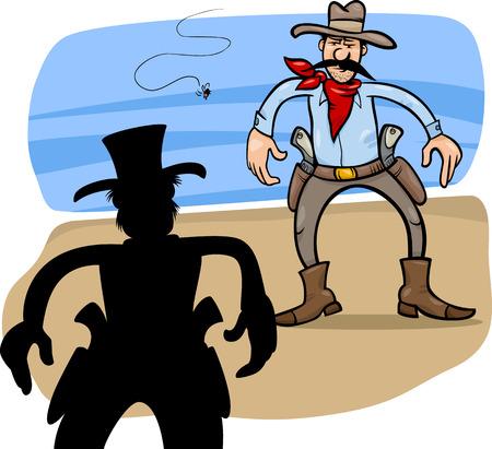 gunfighter: Cartoon Illustration of Two Gunmen or Cowboys Gunfight Duel