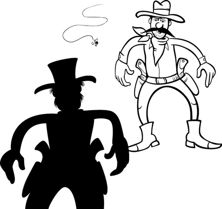 Black and White Cartoon Illustration of Two Gunmen or Cowboys Gunfight Duel Vector