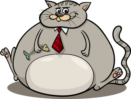 moggy: Cartoon Humor Concept Illustration of Fat Cat Saying or Proverb Illustration