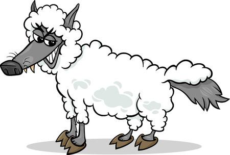 만화 유머 개념에서 양 의류에있는 늑대의 그림은 말하기 나 속담