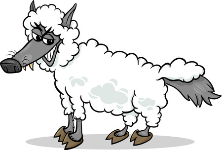 swindler: Cartoon Humor Concept Illustration of Wolf in Sheeps Clothing Saying or Proverb Illustration