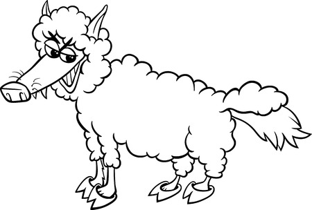 swindler: Black and White Cartoon Humor Concept Illustration of Wolf in Sheeps Clothing Saying or Proverb for Coloring Book Illustration