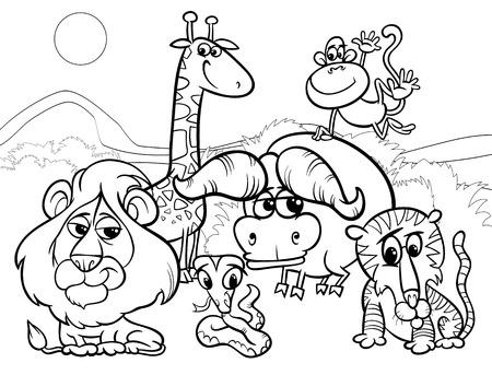 색칠 공부를위한 아프리카 야생 동물 문자 그룹과 장면의 흑백 만화 일러스트 레이 션