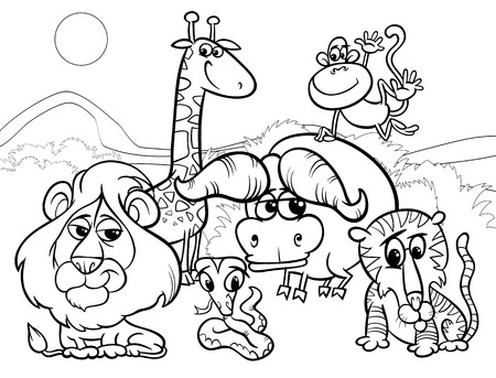 Black and White Cartoon Illustration of Scene with Wild African Animals Characters Group for Coloring Book Ilustração