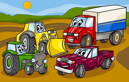 面白い車とマシンまたはトラック車漫画文字グループの漫画イラスト  イラスト・ベクター素材