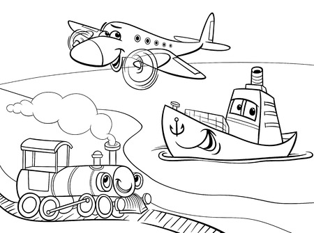 giao thông vận tải: Đen và trắng Cartoon Minh họa vui Plane và tàu và tàu vận tải Nhân vật Comic Group cho Coloring Book