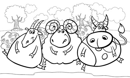 Black and White Cartoon Illustration of Country Rural Scene with Farm Animals Goat and Bull and Ram Characters Group for Coloring Book Vector