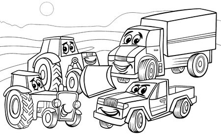 spedition: Black and White Cartoon Illustration of Funny Vehicles and Machines or Trucks Cars Comic Characters Group for Coloring Book Illustration