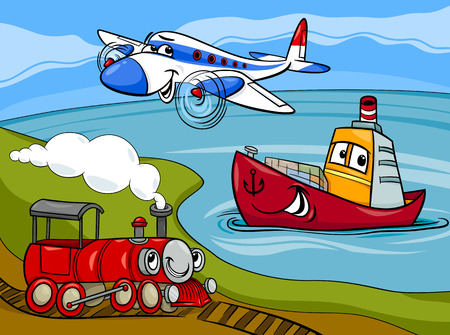 Cartoon illustratie van grappige Plane en met trein en schip Transport Comic Characters Group