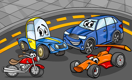 rally car: Cartoon Illustration of Funny Cars and Vehicles Comic Characters Group
