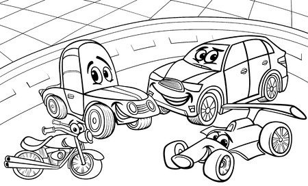 motorbike race: Black and White Cartoon Illustration of Funny Cars and Vehicles Comic Characters Group for Coloring Book Illustration