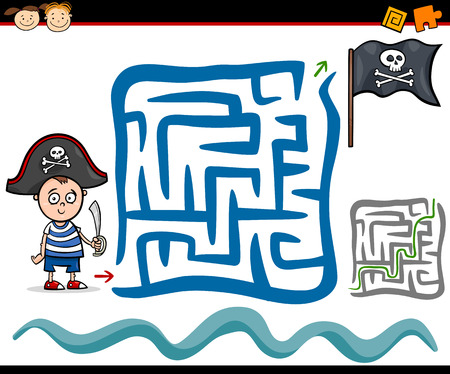 Cartoon Illustration of Education Maze or Labyrinth Game for Preschool Children with Cute Little Pirate Boy Vector