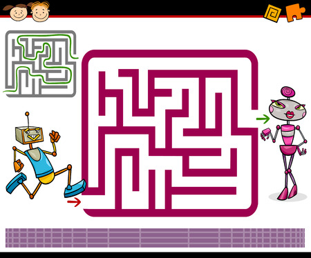Cartoon Illustration of Education Maze or Labyrinth Game for Preschool Children with Funny Robots Characters Vector