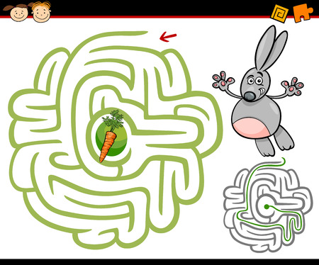 Cartoon Illustration of Education Maze or Labyrinth Game for Preschool Children with Cute Rabbit or Bunny and Carrot