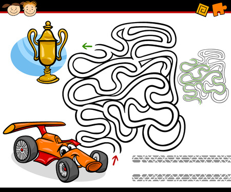 Cartoon Illustration of Education Maze or Labyrinth Game for Preschool Children with Racing Car and Gold Cup Vector