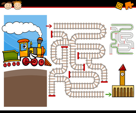 Cartoon Illustration of Education Maze or Labyrinth Game for Preschool Children with Cute Steam Engine Train and Railways Illustration