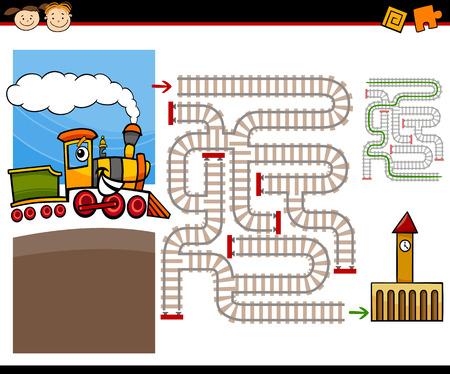 Ejemplo de la historieta de Maze Educación o Laberinto Juego para niños en edad preescolar con vapor Tren motor Lindo y Ferrocarriles