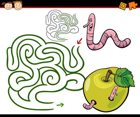 gusano caricatura: Ejemplo de la historieta de Maze Educación o Laberinto Juego para niños en edad preescolar con Gusano divertido y manzana Vectores