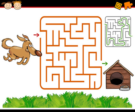 Cartoon Illustration of Education Maze or Labyrinth Game for Preschool Children with Funny Dog and Doghouse or Kennel Illustration
