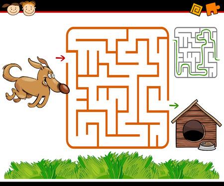 Ejemplo de la historieta de Maze Educación o Laberinto Juego para niños en edad preescolar con el perro divertido y caseta de perro o de la perrera Vectores
