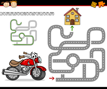 Cartoon Illustration of Education Maze or Labyrinth Game for Preschool Children with Motorbike and Road to Home