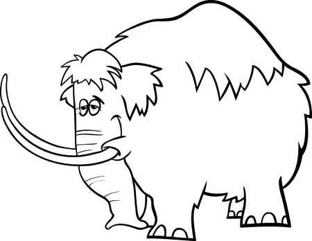 mammoth: Black and White Cartoon Illustration of Funny Prehistoric Mammoth or Mastodon for Coloring Book